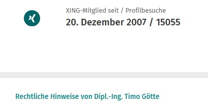 Kontaktanzahl von Timo Götte bei Xing
