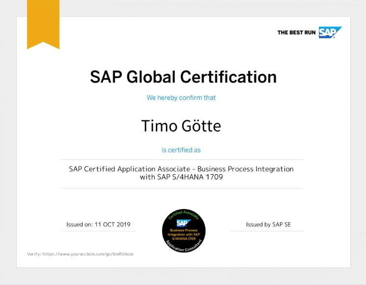SAP Global Certification Timo Götte S4HANA Consultant
